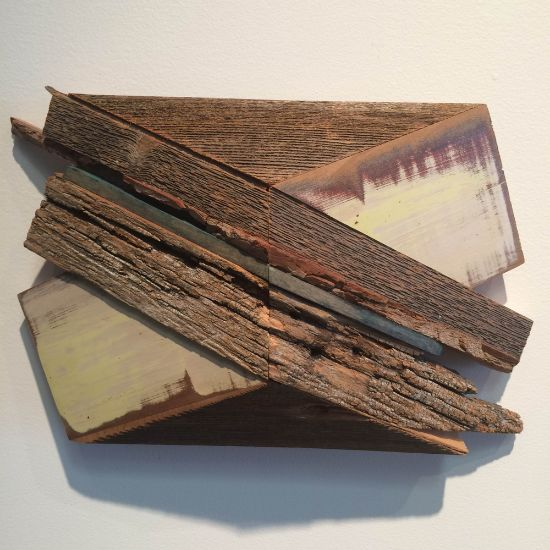 """""""X-15"""" Aniline dyes & paint on poplar & found wood, 8"""" x 12"""" x 3""""<br /><strong>- <a class=""""inquireLink"""" href=""""JavaScript:newPopup('http://thehaengallery.com/inquiry-form/?subject=Melinda Rosenberg: X-15');"""">Please inquire</a> -</strong>"""