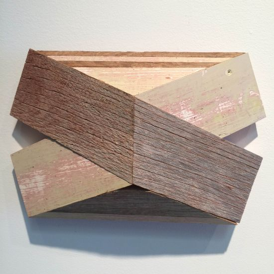 """""""X-3"""" Aniline dyes & paint on poplar & barn siding, 7"""" x 11"""" x 3""""<br /><strong>- <a class=""""inquireLink"""" href=""""JavaScript:newPopup('http://thehaengallery.com/inquiry-form/?subject=Melinda Rosenberg: X-3');"""">Please inquire</a> -</strong>"""