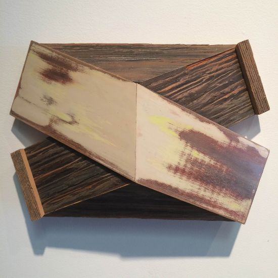 """""""X-8"""" Aniline dyes & paint on pine & found wood, 8"""" x 12"""" x 4""""<br /><strong>- <a class=""""inquireLink"""" href=""""JavaScript:newPopup('http://thehaengallery.com/inquiry-form/?subject=Melinda Rosenberg: X-8');"""">Please inquire</a> -</strong>"""