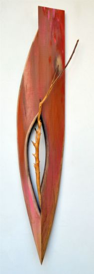 """Touching Boat"" paint, stain on maple and branch 41"" x 9"" x 5"", alt="