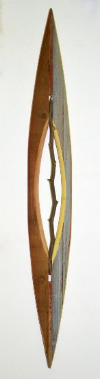 """Canoe 24"" Stick, aniline dyes & paint on pine & cedar, 48"" x 7"" x 3""<br /><strong>- SOLD -</strong>"