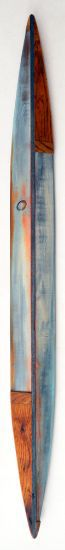 """Canoe 14"" aniline dyes, paint on pine & cutting board, 67"" x 6"" x 7""<br /><strong>- SOLD -</strong>"