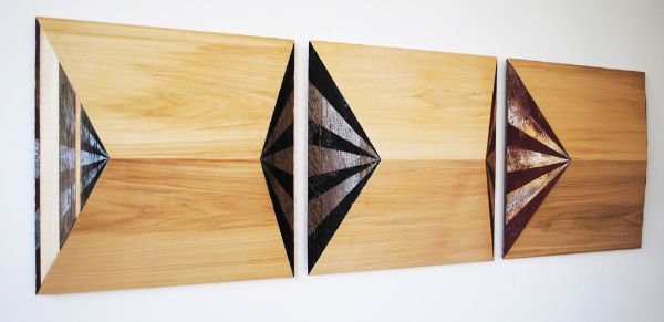 """Circus"" (triptych) paint on found wood & poplar, 66"" x 21"" x 5""<br /><strong>- <a class=""inquireLink"" href=""JavaScript:newPopup('http://thehaengallery.com/inquiry-form/?subject=Melinda Rosenberg: Circus (triptych');"">Please inquire</a> -</strong>"