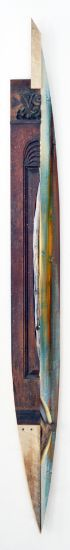 """Fireplace Boat"" analine dyes on pine, fireplace mantle, stick, 79"" x 8"" x 3""<br /><strong>- SOLD -</strong>"