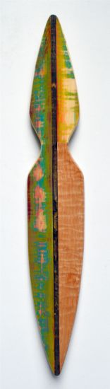 """""""Form 28"""" Stick, aniline dyes & paint on pine & quilted maple, 37"""" x 7"""" x 2""""<br /><strong>- <a class=""""inquireLink"""" href=""""JavaScript:newPopup('http://thehaengallery.com/inquiry-form/?subject=Melinda Rosenberg: Form 28');"""">Please inquire</a> -</strong>"""