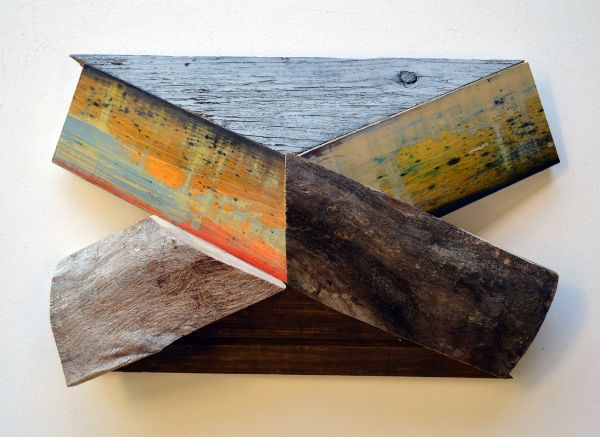 """X-32"" Aniline dyes & paint on pine, logs & barn siding, 10"" x 16"" x 6""<br /><strong>- <a class=""inquireLink"" href=""JavaScript:newPopup('http://thehaengallery.com/inquiry-form/?subject=Melinda Rosenberg: X-32');"">Please inquire</a> -</strong>"