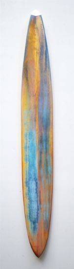 """Pod"" Stick, Aniline dyes & paint on pine & maple, 48"" x 6"" x 3""<br /><strong>- SOLD -</strong>"