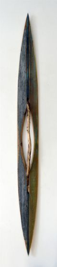 """Ridge Line 3"" Aniline dyes and paint on pine, cedar and stick, 72"" x 7"" x 4""<br /><strong>- SOLD -</strong>"