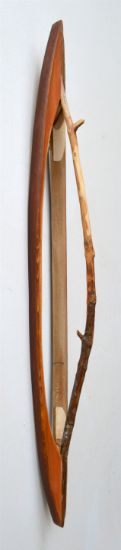 """Ridge Line 5"" Aniline dyes and paint on pine, cedar and stick, 32"" x 4"" x 4""<br /><strong>- SOLD -</strong>"