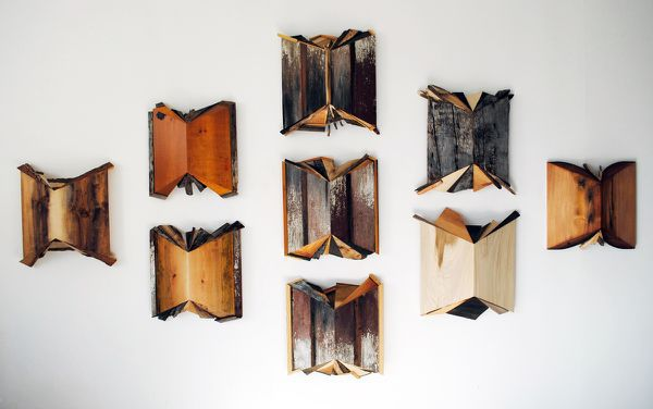"""Books #1 & 3"" Aniline dyes & found wood, approx. 23"" x 23"" x 7"" each<br /><strong>- <a class=""inquireLink"" href=""JavaScript:newPopup('http://thehaengallery.com/inquiry-form/?subject=Melinda Rosenberg: Books #1-9');"">Please inquire</a> -</strong>"