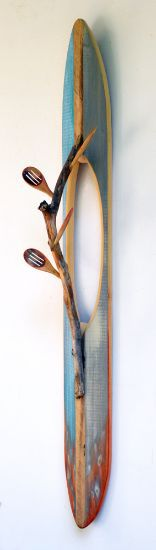 """Rowing"" paint on pine, spoons and stick, 49"" x 8"" x 7""<br /><strong>- <a class=""inquireLink"" href=""JavaScript:newPopup('http://thehaengallery.com/inquiry-form/?subject=Melinda Rosenberg: Rowing');"">Please inquire</a> -</strong>"