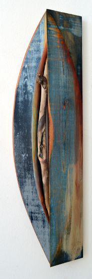 """Sprout 2"" analine dyes, paint on pine & stick, 21"" x 6"" x 2""<br /><strong>- <a class=""inquireLink"" href=""JavaScript:newPopup('http://thehaengallery.com/inquiry-form/?subject=Melinda Rosenberg: Sprout 2');"">Please inquire</a> -</strong>"