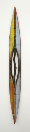 """Stick 26"" Stick, aniline dyes & paint on pine, 33"" x 4"" x 2""<br /><strong>- SOLD -</strong>"