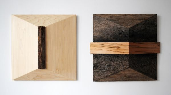 """That and That"" (pair) Barn siding, poplar & ambrosia maple, 48"" x 21"" x 5""<br /><strong>- <a class=""inquireLink"" href=""JavaScript:newPopup('http://thehaengallery.com/inquiry-form/?subject=Melinda Rosenberg: This and That');"">Please inquire</a> -</strong>"