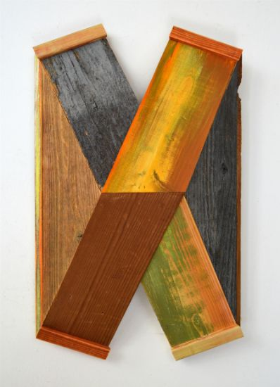 """X-48"" Aniline dyes and paint on pine, cedar and found wood, 17"" x 10"" x 5""<br /><strong>- SOLD -</strong>"
