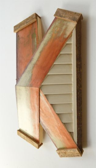 """X-53"" Aniline dyes and paint on pine, and shutters, 17"" x 10"" x 5""<br /><strong>- SOLD -</strong>"