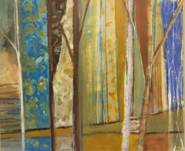"""Silent Woods"" Acrylic and graphite on canvas, 41"" x 34""<br /><strong>- <a class=""inquireLink"" href=""JavaScript:newPopup('http://thehaengallery.com/inquiry-form/?subject=Karlene McConnell: Silent Woods');"">Please inquire</a> -</strong>"