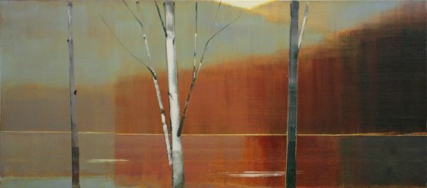 """""""2014, III.II"""" Oil on Birch Panel, 64"""" x 28""""<br /><strong>- <a class=""""inquireLink"""" href=""""JavaScript:newPopup('http://thehaengallery.com/inquiry-form/?subject=Stephen Pentak: 2014, III.II');"""">Please inquire</a> -</strong>"""