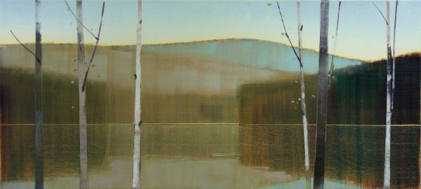 """2017, V.I"" Oil on Birch Panel, 76"" X 34""<br /><strong>- SOLD -</strong>"