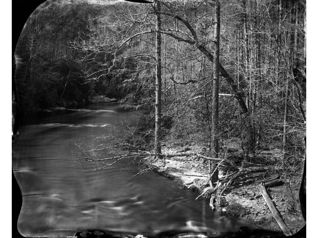 """""""Chatooga River Landscape"""" toned gelatin silver print, 20"""" x 16""""<br /><strong>- <a class=""""inquireLink"""" href=""""JavaScript:newPopup('http://thehaengallery.com/inquiry-form/?subject=Ben Nixon: Chatooga River Landscape');"""">Please inquire</a> -</strong>"""