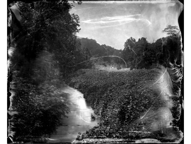"""""""Creek near Saluda"""" toned gelatin silver print, 20"""" x 16""""<br /><strong>- <a class=""""inquireLink"""" href=""""JavaScript:newPopup('http://thehaengallery.com/inquiry-form/?subject=Ben Nixon: Creek near Saluda');"""">Please inquire</a> -</strong>"""