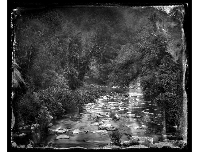 """""""Rocky Broad River, Bat Cave"""" toned gelatin silver print, 20"""" x 16""""<br /><strong>- <a class=""""inquireLink"""" href=""""JavaScript:newPopup('http://thehaengallery.com/inquiry-form/?subject=Ben Nixon: Rocky Broad River, Bat Cave');"""">Please inquire</a> -</strong>"""