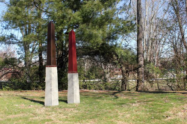 """Standing Stones I"" steel, concrete, corten, stainless steel, 76"" & 70"" high x 21"" x 19""<br /><strong>- SOLD -</strong>"