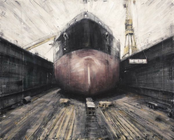 """Cargo Ship"" Oil on panel, framed, 30"" x 24""<br /><strong>- <a class=""inquireLink"" href=""JavaScript:newPopup('http://thehaengallery.com/inquiry-form/?subject=Valerio D'Ospina: Cargo Ship');"">Please inquire</a> -</strong>"