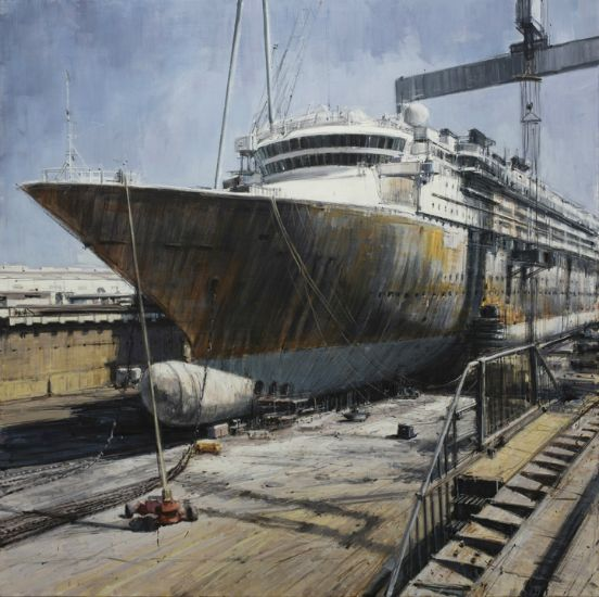 """""""Cruise Ship in Dry Dock"""" Oil on canvas, 47"""" x 47"""", alt="""