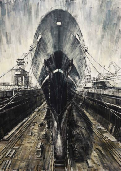 """""""Dry Dock"""" Oil on canvas, 56"""" x 78""""<br /><strong>- SOLD -</strong>"""