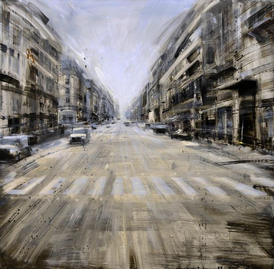 """""""Strada Parigina"""" Oil on panel, 31"""" x 31"""", $7400<br /><strong>- <a class=""""inquireLink"""" href=""""JavaScript:newPopup('http://thehaengallery.com/inquiry-form/?subject=Valerio D'Ospina: Strada Parigina');"""">Please inquire</a> -</strong>"""