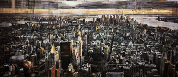 """""""Looking Downtown at Sunset"""" Oil on canvas, 92"""" x 40"""","""