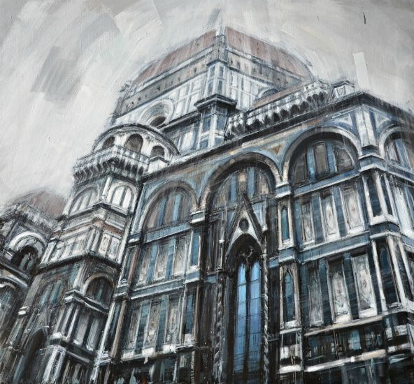 """Duomo di Firenze"" Oil on panel, framed, 50"" x 48""<br /><strong>- <a class=""inquireLink"" href=""JavaScript:newPopup('http://thehaengallery.com/inquiry-form/?subject=Valerio D'Ospina: Duomo di Firenze');"">Please inquire</a> -</strong>"