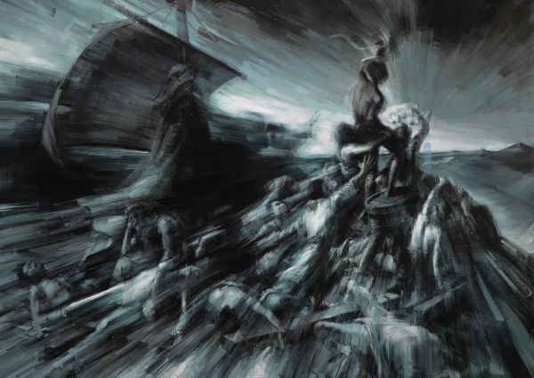 """""""Hopeless (Homage to Gericault"""" Oil on canvas, 75"""" x 54"""", $30,000<br /><strong>- <a class=""""inquireLink"""" href=""""JavaScript:newPopup('http://thehaengallery.com/inquiry-form/?subject=Valerio D'Ospina: Hopeless');"""">Please inquire</a> -</strong>"""