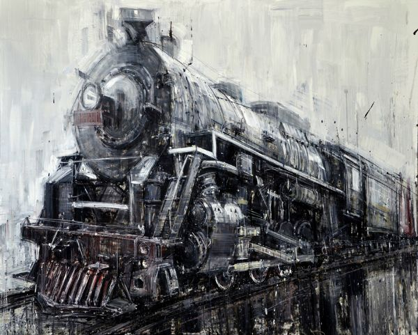 """""""Locomotive"""" Oil on panel, 30"""" x 24""""<br /><strong>- SOLD -</strong>"""