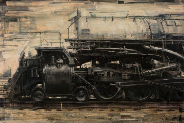 """""""S Locomotive"""" Oil on panel, 48"""" x 32""""<br /><strong>- SOLD -</strong>"""
