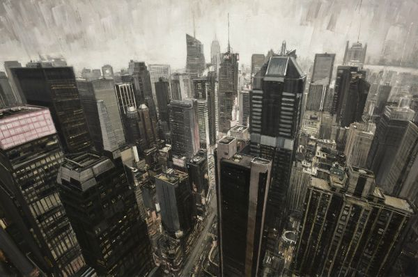 """""""Times Square From Above"""" Oil on canvas, 78"""" x 52"""","""