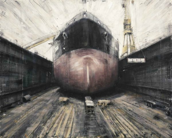 """""""Cargo Ship"""" Oil on panel, framed, 30"""" x 24"""", $6,000<br /><strong>- <a class=""""inquireLink"""" href=""""JavaScript:newPopup('http://thehaengallery.com/inquiry-form/?subject=Valerio D'Ospina: Cargo Ship');"""">Please inquire</a> -</strong>"""