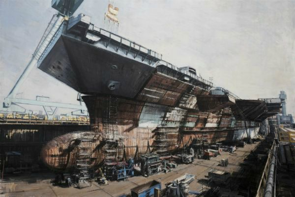 """""""Carrier Ship Under Construction"""" Oil on panel, framed, 72"""" x 48""""<br /><strong>- SOLD -</strong>"""
