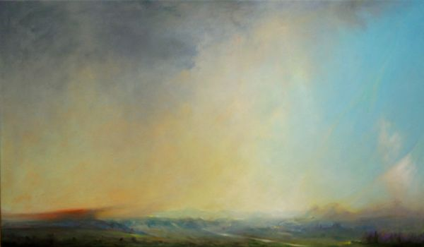 """Third Dialect"" Oil on canvas, 48"" x 29""<br /><strong>- SOLD -</strong>"