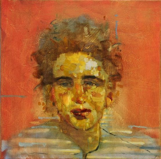 """Loretta"" Oil on canvas, 16"" x 16""<br /><strong>- <a class=""inquireLink"" href=""JavaScript:newPopup('http://thehaengallery.com/inquiry-form/?subject=Tim Anderson: Loretta');"">Please inquire</a> -</strong>"