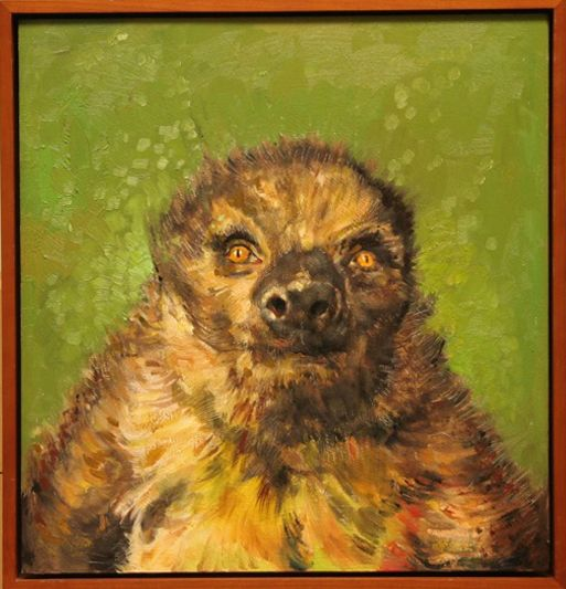 """Steve the Sloth"" Oil on panel, 16"" x 17""<br /><strong>- <a class=""inquireLink"" href=""JavaScript:newPopup('http://thehaengallery.com/inquiry-form/?subject=Tim Anderson: Steve the Sloth');"">Please inquire</a> -</strong>"