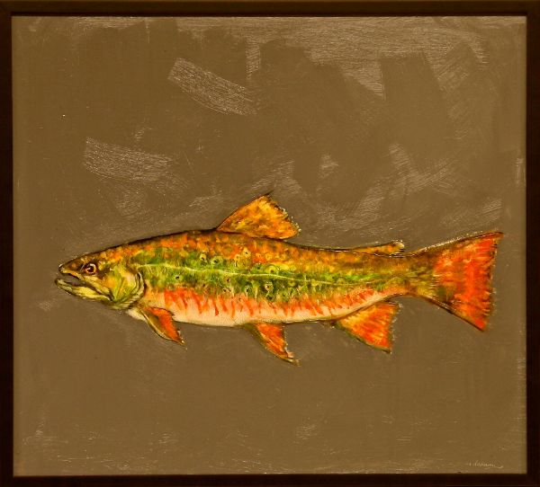 """The Kilgore Trout"" Oil on panel, 20"" x 18""<br /><strong>- <a class=""inquireLink"" href=""JavaScript:newPopup('http://thehaengallery.com/inquiry-form/?subject=Tim Anderson: The Kilgore Trout');"">Please inquire</a> -</strong>"