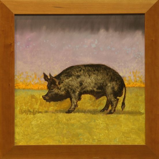"""Iberico Pig"" Oil on panel, 20""x19"", framed in cherry<br /><strong>- <a class=""inquireLink"" href=""JavaScript:newPopup('http://thehaengallery.com/inquiry-form/?subject=Tim Anderson: Iberico Pig');"">Please inquire</a> -</strong>"