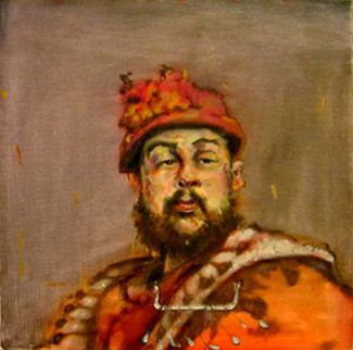 """Henry VIII"" Oil on linen/panel, 16""x16""<br /><strong>- <a class=""inquireLink"" href=""JavaScript:newPopup('http://thehaengallery.com/inquiry-form/?subject=Tim Anderson: Henry VIII');"">Please inquire</a> -</strong>"