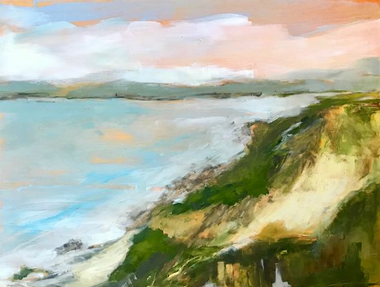 """""""Looking Beyond The Bay"""" oil on panel, 16"""" x 12"""", $525<br /><strong>- <a class=""""inquireLink"""" href=""""JavaScript:newPopup('http://thehaengallery.com/inquiry-form/?subject=Marlise Newman: Looking Beyond The Bay');"""">Please inquire</a> -</strong>"""