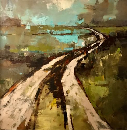 """Road to Blue"" oil on canvas, 36"" x 36""<br /><strong>- <a class=""inquireLink"" href=""JavaScript:newPopup('http://thehaengallery.com/inquiry-form/?subject=Marlise Newman: Road to Blue');"">Please inquire</a> -</strong>"