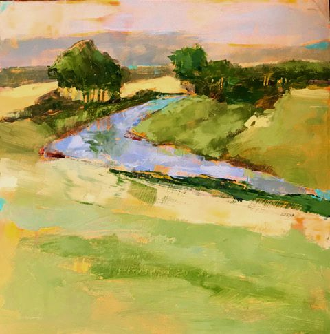 """Spring Greens"" oil on panel, 12"" x 12""<br /><strong>- SOLD -</strong>"