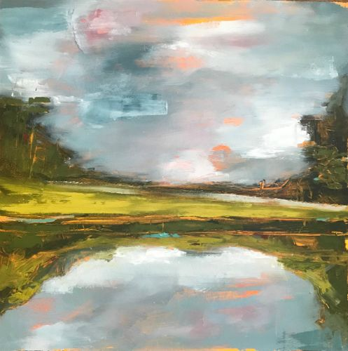 """""""Peaceful Convergence"""" oil on panel, 12"""" x 12"""", $525<br /><strong>- <a class=""""inquireLink"""" href=""""JavaScript:newPopup('http://thehaengallery.com/inquiry-form/?subject=Marlise Newman: Peaceful Convergence');"""">Please inquire</a> -</strong>"""