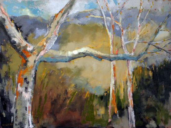 """Tree Party"" oil on panel, 40"" x 30""<br /><strong>- SOLD -</strong>"